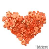 Набор декоративных пуговиц от ScrapEgo - Оранжевый микс. В наборе 40 штук. Материал: пластик. Не содержат вредных веществ, без никеля. Можно стирать.