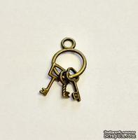 """Металлическое украшение """"Связка ключей"""", античное золото, размер 27х12 мм, 1 шт."""