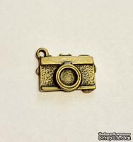 """Металлическое украшение """"Фотоаппарат"""", античная бронза, 18x11мм, 1 шт."""