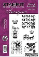 Набор резиновых штампов от Crafter's Companion - Birds & Butterflies, 7 шт.