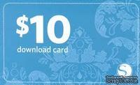 Карточка-сертификат для покупки шаблонов к плоттеру на сайте SilhouetteAmerica.com на сумму 10$