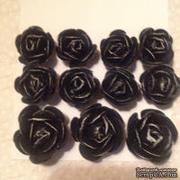 Набор бумажных роз, черный,11шт, 2.8-1.8см