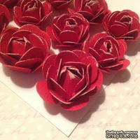Набор бумажных роз, красный,11шт., 2.8-1.8см