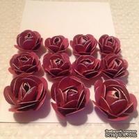 Набор бумажных роз, цвет Амарант,11шт., 2.8-1.8см