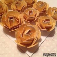 Набор бумажных роз, цвет Желтый,11шт., 2.8-1.8см