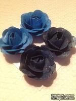 Набор бумажных роз с глиттером, синие, 4шт.,4см