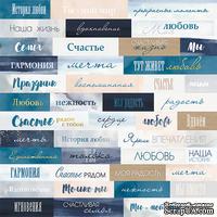 Лист односторонней бумаги от Scrapmir - Надписи Blue & Blush RU, 20х20см