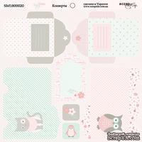 Лист двусторонней бумаги от Scrapmir - Конверты Baby Girl, 20х20 см