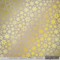 Лист односторонней бумаги с золотым тиснением от Scrapmir - Золотая Метелица - Rustic Winter, 30x30 см
