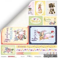 Лист двусторонней скрапбумаги от Scrapmir - Карточки из коллекции Birthday Party, 30x30 см