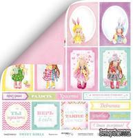 Лист двусторонней скрапбумаги от Scrapmir - Карточки из коллекции Sweet Girls, 30x30 см