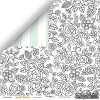 """Лист двусторонней бумаги от Scrapmir - """"Настроение"""" из коллекции Simple Flowers, 30x30 см"""