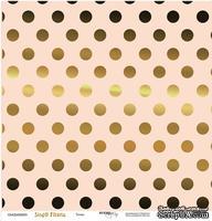 """Лист односторонней бумаги с золотым тиснением от Scrapmir - """"Точки"""" из коллекции Simple Flowers, 30x30 см"""