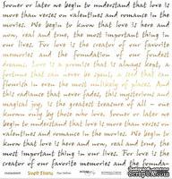 """Лист односторонней бумаги с золотым тиснением от Scrapmir - """"Про любовь"""" из коллекции Simple Flowers, 30x30 см"""
