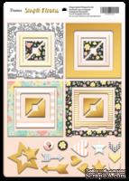 Рамки из чипборда с фольгированием (золото) для скрапбукинга от Scrapmir - Simple Flowers, 30 шт.