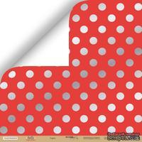 Лист односторонней бумаги с серебряным тиснением от Scrapmir - Горох - Hello Christmas, 30x30 см