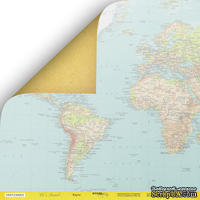 Лист двусторонней бумаги от Scrapmir - Карта из коллекции - Let's Travel, 30x30 см