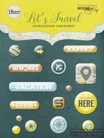 Набор эпоксидных наклеек  от Scrapmir - Let's Travel (eng.), 16 штук, англ.язык