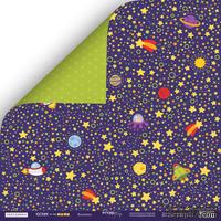 Лист двусторонней бумаги от Scrapmir - Вселенная - Ticket to the Moon, 30x30см