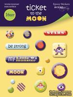 Набор эпоксидных наклеек от Scrapmir - Ticket to the Moon, 16 шт.