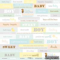 Лист односторонней бумаги 30x30 от Scrapmir Inscriptions - Smile Baby, ENG