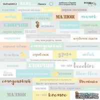 Лист односторонней бумаги от Scrapmir - Надписи (UKR) - Smile Baby, 20х20см