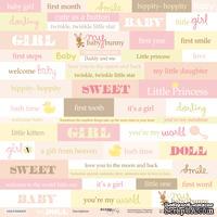 Лист односторонней скрапбумаги от Scrapmir - Inscriptions (ENG) из коллекции Doll Baby, 30x30 см