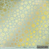 Лист односторонней бумаги с золотым тиснением от Scrapmir - Nordic Spirits - Снежинки Золото, 30x30 см