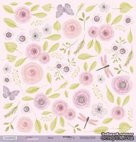 Лист односторонней бумаги для вырезания от Scrapmir - Цветы - Daddy's Princess, 30x30 см