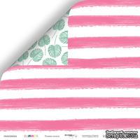 Лист двусторонней бумаги от Scrapmir - Розовые полосы из коллекции Summer, 30x30 см