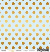 """Лист односторонней бумаги с золотым тиснением от Scrapmir - """"Golden Dots Blue"""" из коллекции Every Day, 30x30 см"""