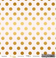 """Лист односторонней бумаги с золотым тиснением от Scrapmir - """"Golden Dots Pink"""" из коллекции Every Day, 30x30 см"""