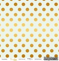 """Лист односторонней бумаги с золотым тиснением от Scrapmir - """"Golden Dots Mint"""" из коллекции Every Day, 30x30 см"""