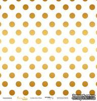 """Лист односторонней бумаги с золотым тиснением от Scrapmir - """"Golden Dots White"""" из коллекции Every Day, 30x30 см"""