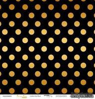 """Лист односторонней бумаги с золотым тиснением от Scrapmir - """"Golden Dots Black"""" из коллекции Every Day, 30x30 см"""