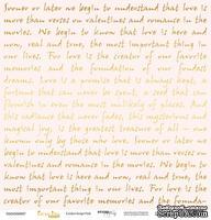"""Лист односторонней бумаги с золотым тиснением от Scrapmir - """"Golden Script Pink"""" из коллекции Every Day, 30x30 см"""