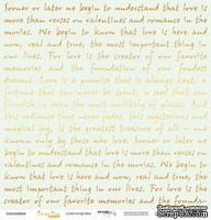 """Лист односторонней бумаги с золотым тиснением от Scrapmir - """"Golden Script Mint"""" из коллекции Every Day, 30x30 см"""