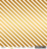"""Лист односторонней бумаги с золотым тиснением от Scrapmir - """"Golden Stripes Pink"""" из коллекции Every Day, 30x30 см"""