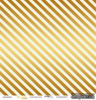 """Лист односторонней бумаги с золотым тиснением от Scrapmir - """"Golden Stripes Mint"""" из коллекции Every Day, 30x30 см"""