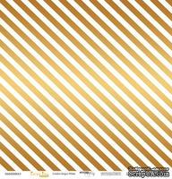 """Лист односторонней бумаги с золотым тиснением от Scrapmir - """"Golden Stripes White"""" из коллекции Every Day, 30x30 см"""