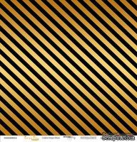 """Лист односторонней бумаги с золотым тиснением от Scrapmir - """"Golden Stripes Black"""" из коллекции Every Day, 30x30 см"""