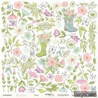 """Лист односторонней бумаги для вырезания от Scrapmir - Цветы - коллекция """"Pur Pur"""", 30x30 см"""