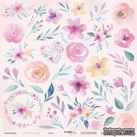 Лист двусторонней бумаги от Scrapmir - Цветы из коллекции Gentle Morning, 30х30см