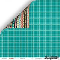 Лист двусторонней бумаги от Scrapmir - Зелёный плед из коллекции Funny Friends, 30x30 см
