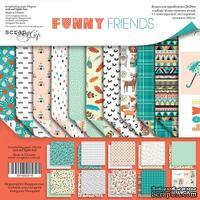 Набор двусторонней бумаги от Scrapmir - Funny Friends, 20х20 см - ScrapUA.com