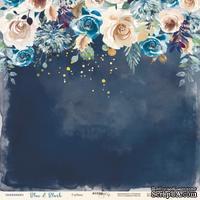 """Лист односторонней бумаги с золотым тиснением от Scrapmir - Глубина - коллекция """"Blue&Blush"""", 30x30 см"""