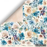 Лист двусторонней бумаги от Scrapmir - Розы - Blue & Blush, 30x30 см