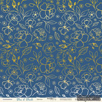 Лист односторонней бумаги с золотым тиснением от Scrapmir - Цветики из коллекции Blue & Blush, 30x30 см