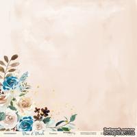Лист односторонней бумаги с золотым тиснением от Scrapmir - Румянец - Blue & Blush, 30x30 см