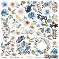 Лист односторонней бумаги для вырезания от Scrapmir - Цветы из коллекции Blue & Blush, 30x30 см